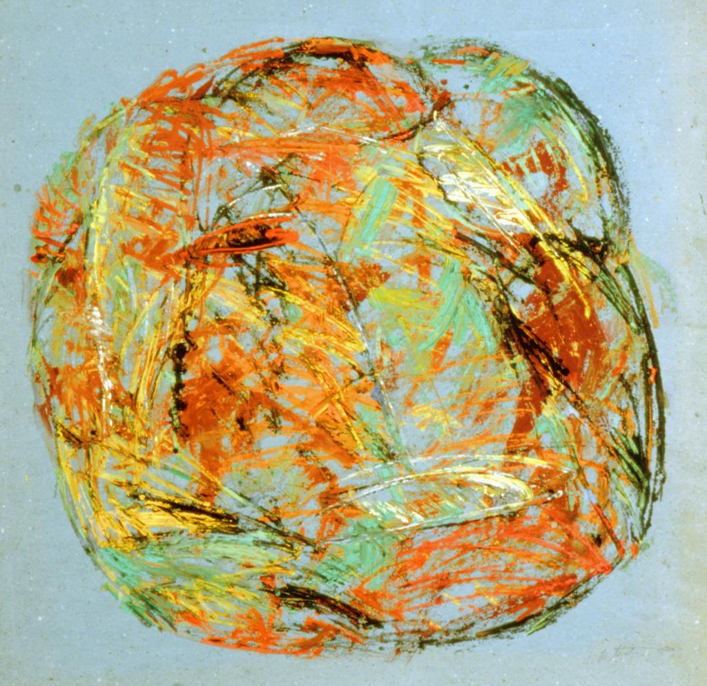 Runde Form, 1989, Tempera auf blauem Packpapier, 63x66, Katalog Seite 30