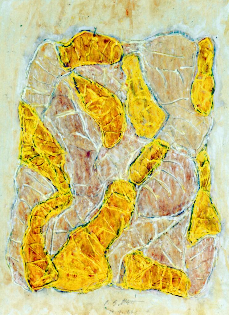Amorph mit Gelb, 2000, Druckfarbe, Wachsaquarell, Tempera auf Papier, 59x44, Katalog Seite 38