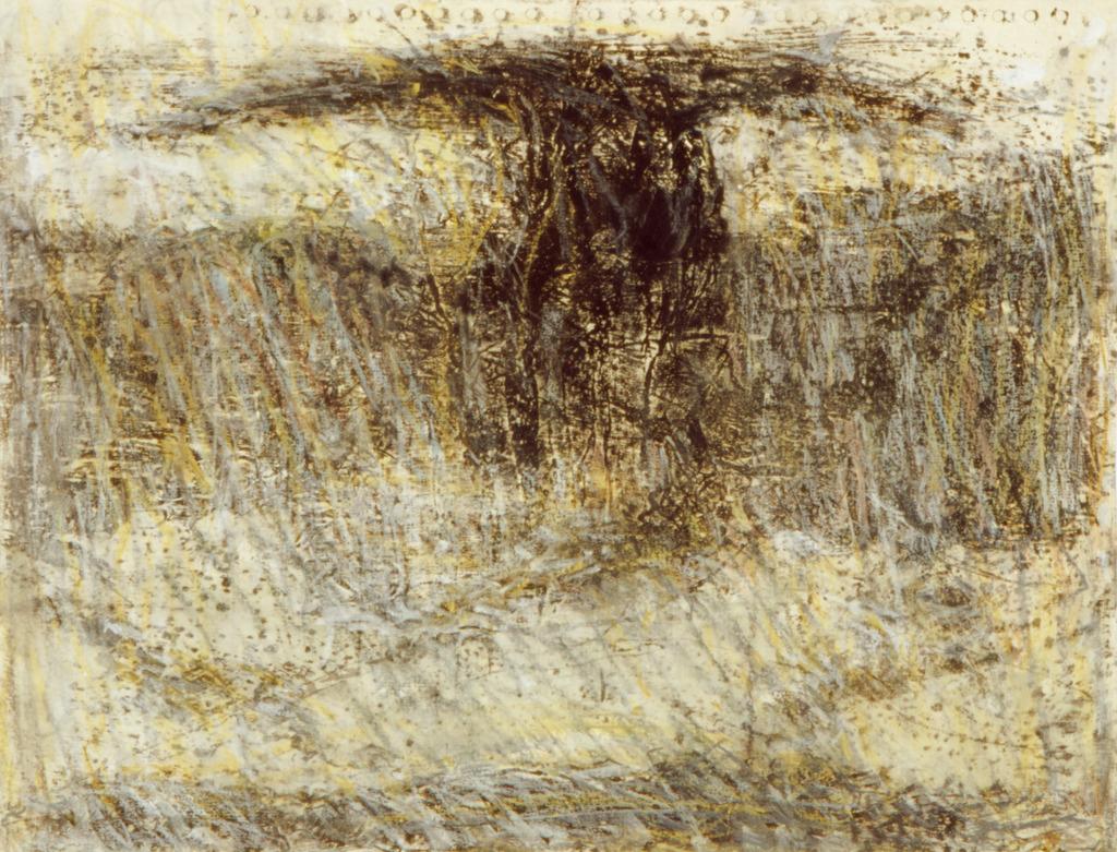 Übermalung I, 1991, Öl, Tempera, Wachskreide auf Papier, 36x44, Katalog Seite 13