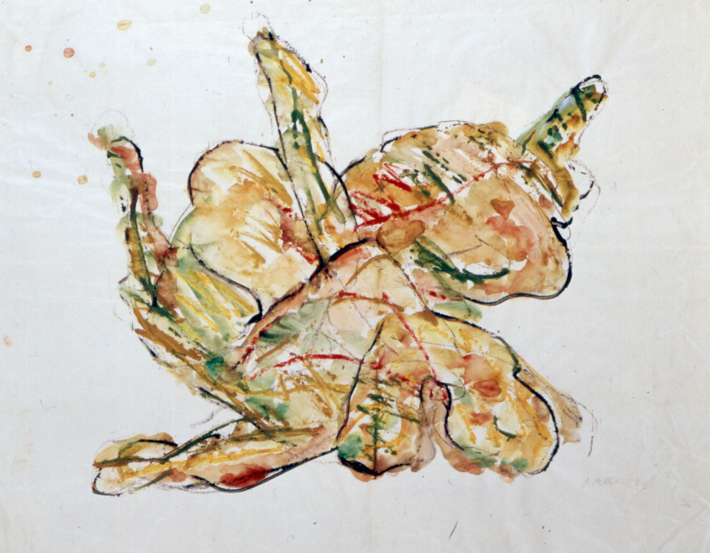 Stürzende Frau, 1996, Wachsaquarell, Aquarell auf Packpapier, 53x68, Katalog Seite 31