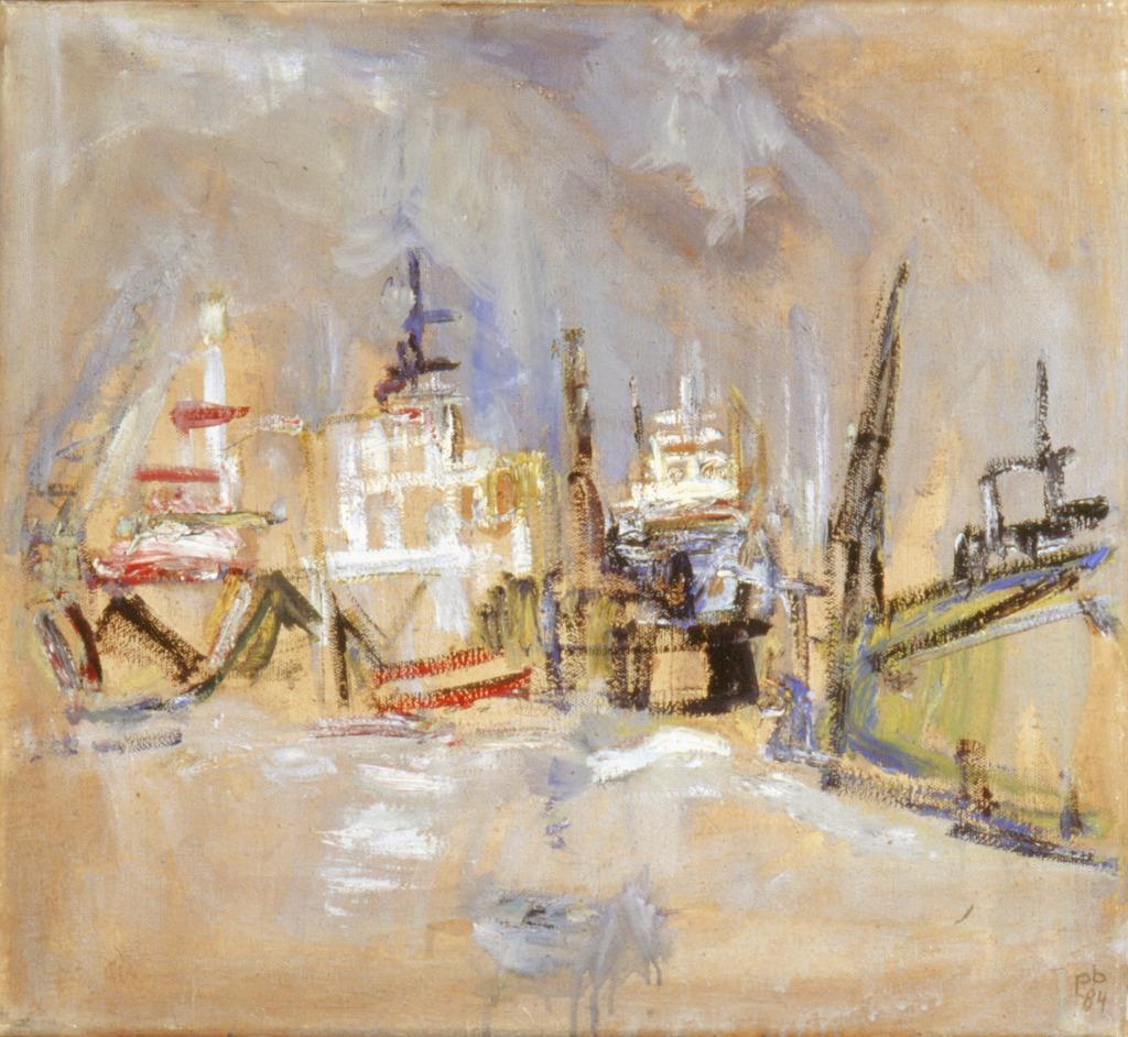 Schiff im Hafen, 1984, Öl auf Leinwand, 55x60, Katalog Seite 14