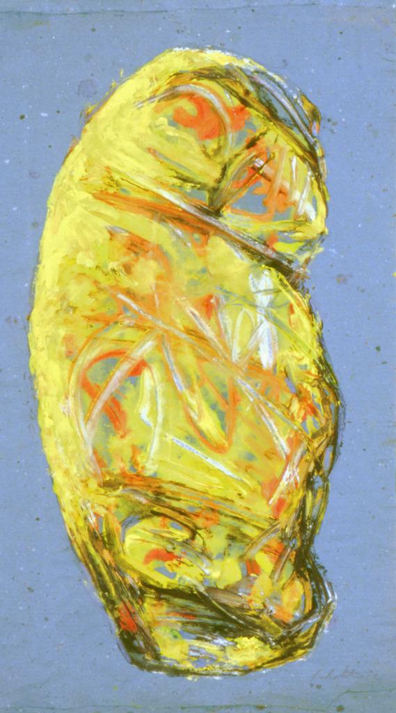 Chinesisch Gelb, 1992, Tempera auf Papier, 59x33, Katalog Seite 35