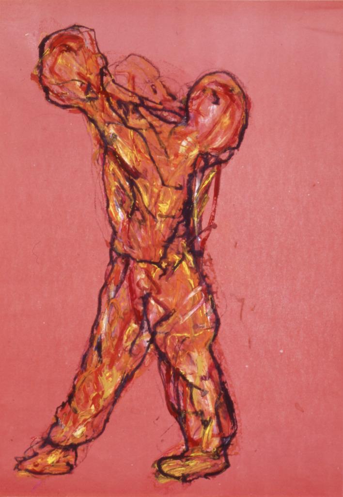 Jongleur, 1999, Wachsstift, Aquarell auf rotem Papier, 62x44, Katalog Seite 34