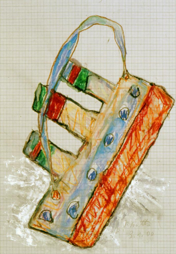 Titanic, 2000, Wachsstift, Aquarell auf Schreibtischunterlage, 42x30, Katalog Seite 47
