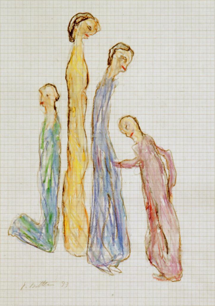 Vier gestreckte Figuren, 1999, Wachsstift, Aquarell auf Schreibtischunterlage, 42x30 , Katalog Seite 43