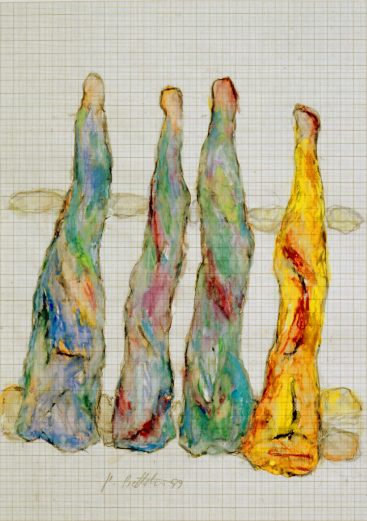 Figurationen mit Grüngelb, 1999, Wachsstift, Aquarell auf Schreibtischunterlage, 42x30, Katalog Seite 43