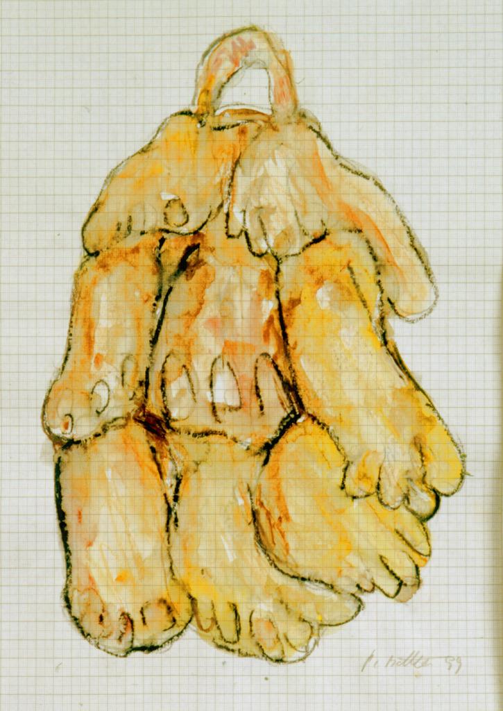 Fußtasche, 1999, Wachsstift, Aquarell auf Schreibtischunterlage, 42x30, Katalog Seite 40