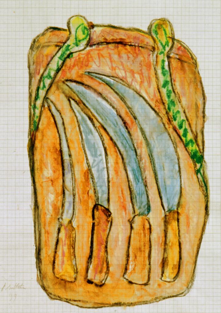 Messertasche, 1999, Wachsstift, Aquarell auf Schreibtischunterlage, 42x30, Katalog Seite 45