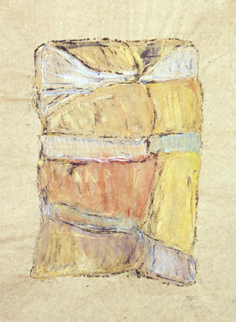 Verpackt I, 2000, Druckfarbe, Wachsaquarell auf Papier, 64x49, Katalog Seite 32