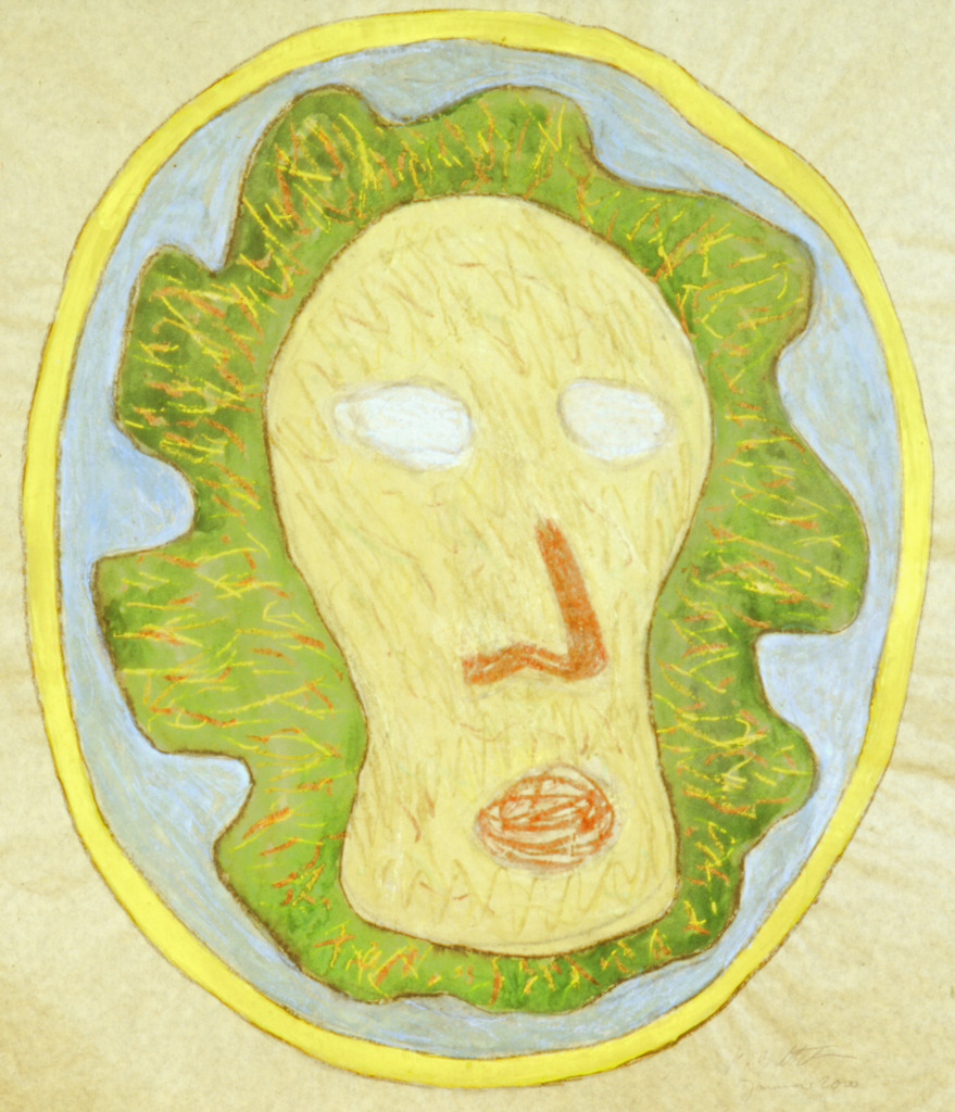 Kopf im gelben Kreis, 2000, Wachsfarbe, Aquarell, Silber auf Papier