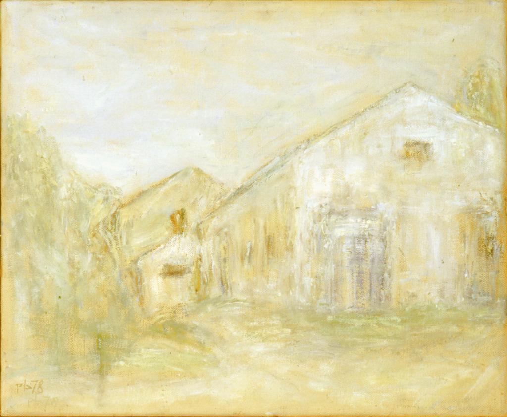 Weiße Häuser in Saxdorf, 1978, Öl auf Pappe