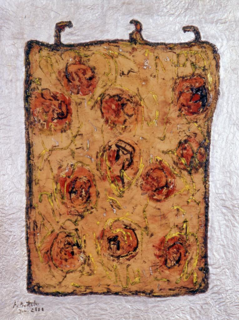 Rosentasche 1, 2000, Linolschnittfarbe mit Aquarell und Silber auf Papier