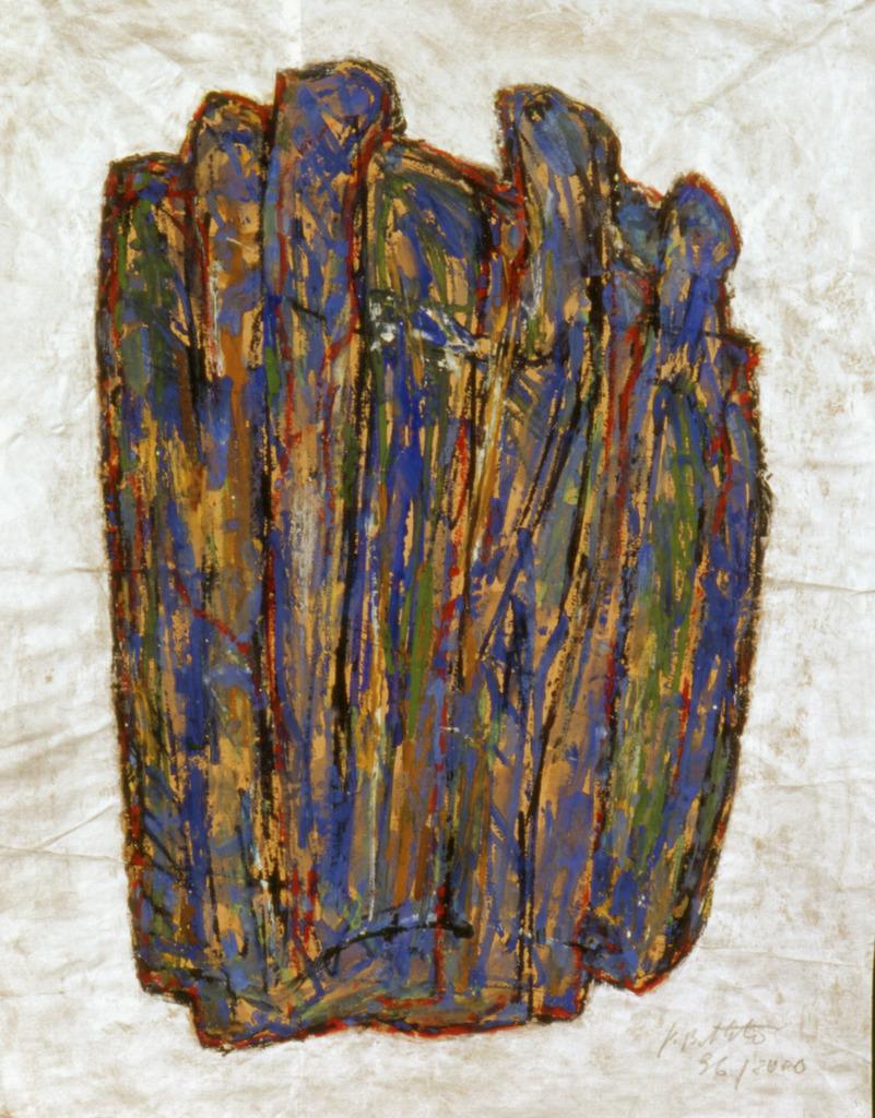 blaue Form, 1996/2000, Linolschnittfarbe mit Aquarell und Silber auf Papier