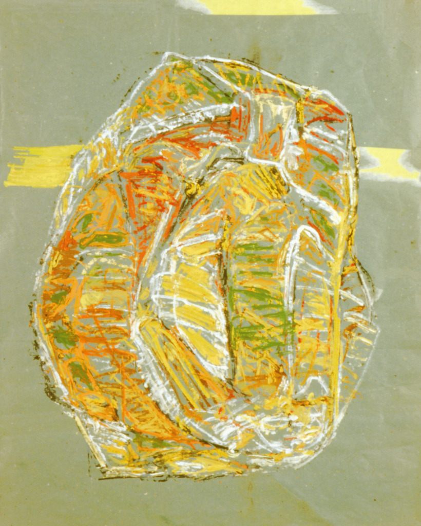 Porträt, 2000, Tempera auf blauem Packpapier