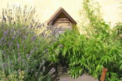 Bambus, Lavendel und ein Insektenhotel auf dem Dach der Galerie