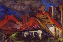 Rote Dächer, 1966, Öl auf Hartfaser, 19x27,5, Katalog Seite 27