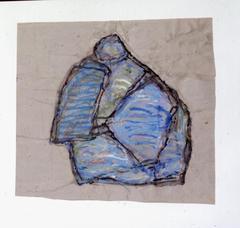 Blaue Form auf blauem Grund, 1995, Tempera auf Papier, 46x50, Katalog Seite 33
