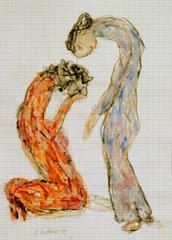 Ab- und Zuwendung, 1999, Wachsstift, Aquarell auf Schreibtischunterlage, 42x30, Katalog Seite 42