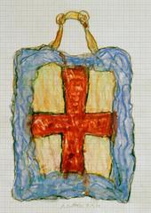 Kreuztasche, 2000, Wachsstift, Aquarell auf Schreibtischunterlage, 42x30, Katalog Seite 46