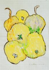 Apfeltasche, 2000, Wachsstift, Aquarell auf Schreibtischunterlage, 42x30, Katalog Seite 41