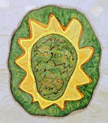 Schießscheibe II, 2000, Wachsstift, Aquarell, Druckfarbe auf Papier, 59x53, Katalog Seite 37