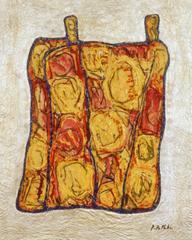 Rosentasche 2, 2000, Linolschnittfarbe mit Aquarell und Silber auf Papier