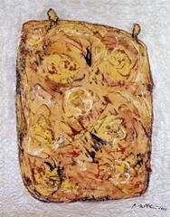 Rosentasche 3, 2000, Linolschnittfarbe mit Aquarell und Silber auf Papier
