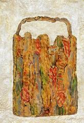 Limestasche 1, 2000, Linolschnittfarbe mit Aquarell und Silber auf Papier