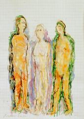 3 Figuren, 2000, Wachsaquarell auf Schreibtischunterlage