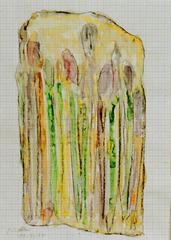Pinseltasche, 2000, Wachsaquarell auf Schreibtischunterlage