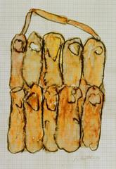 Fingertasche, 1999, Wachsaquarell auf Schreibtischunterlage